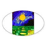 tmeret manymoons stained glas Sticker (Oval 10 pk)