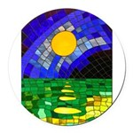 tmeret manymoons stained glass Round Car Magnet
