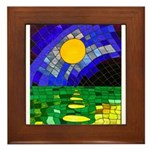tmeret manymoons stained glass Framed Tile