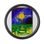 tmeret manymoons stained glass Large Wall Clock