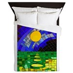 tmeret manymoons stained glass Queen Duvet