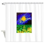 tmeret manymoons stained glass Shower Curtain