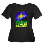 tmeret m Women's Plus Size Scoop Neck Dark T-Shirt