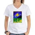tmeret manymoons stained gl Women's V-Neck T-Shirt