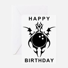 happy birthday bowling ball Greeting Cards