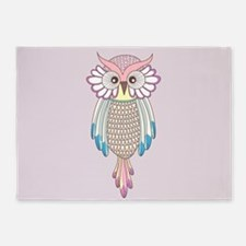Colorful Owl 5'x7'Area Rug