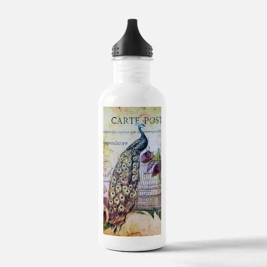 paris orchid birdcage Sports Water Bottle