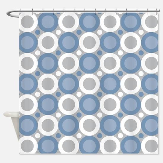 Circle Geometric Blue Shower Curtain