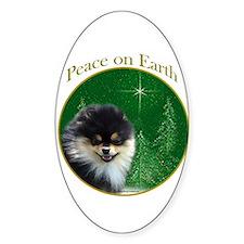 Pomeranian Peace Oval Decal