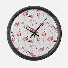 Flamingo Birds Large Wall Clock