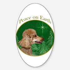 Poodle Peace Oval Decal