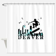 denver skateboarding Shower Curtain