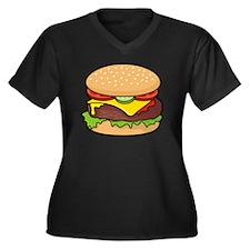 Cheeseburger Women's Plus Size V-Neck Dark T-Shirt