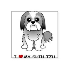 "Cute Shih tzu puppy Square Sticker 3"" x 3"""