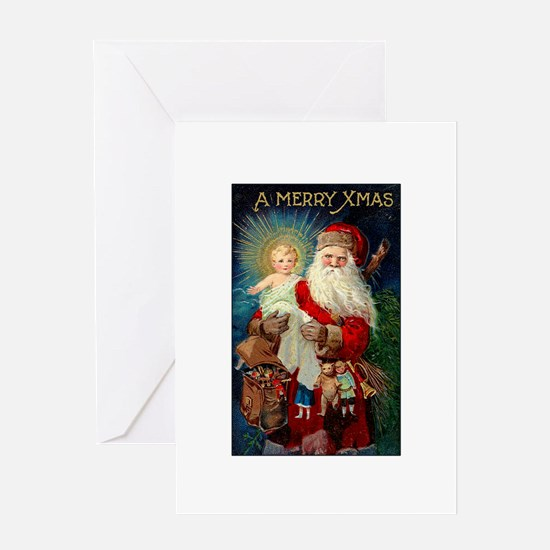 Santa holding Jesus Greeting Card
