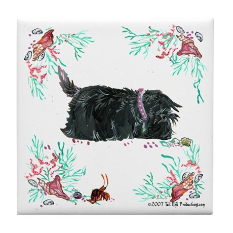Seashore Scottie Island Dog Tile Coaster