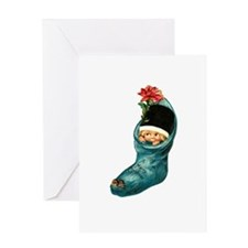 Vintage Christmas Stocking Cutie Greeting Card