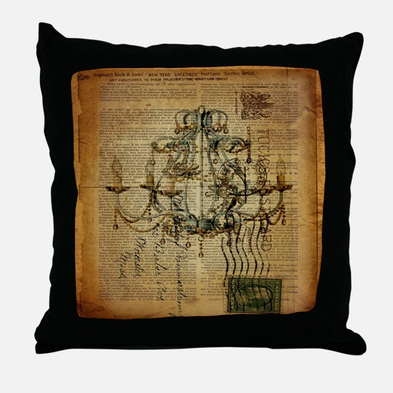 french scripts vintage chandelier Throw Pillow