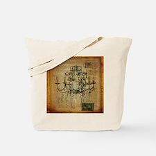 french scripts vintage chandelier Tote Bag