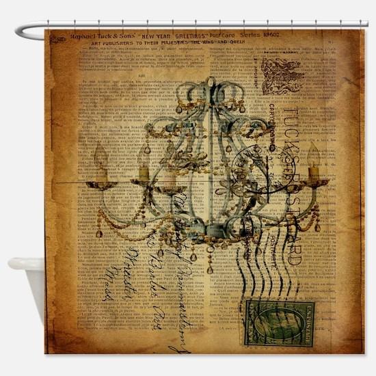 french scripts vintage chandelier Shower Curtain