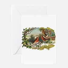 Victorian Winter Birds Greeting Card