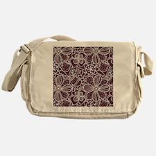 Hand Drawn Flower Outline Pattern Messenger Bag