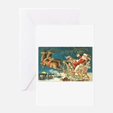Santa in Sleigh Greeting Card
