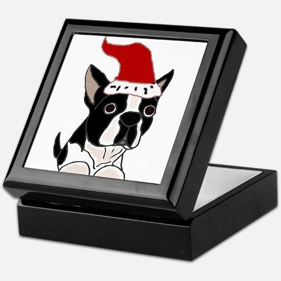 Boston Terrier Dog Christmas Keepsake Box