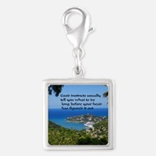 Follow Your Instincts Silver Square Charm