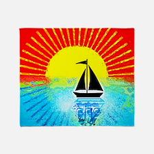 sky on fire sailboat Throw Blanket