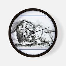 Lions! Wildlife art! Wall Clock