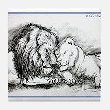 Lions! Wildlife art! Tile Coaster