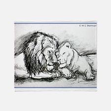 Lions! Wildlife art! Throw Blanket