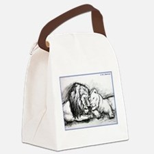 Lions! Wildlife art! Canvas Lunch Bag