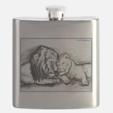 Lions! Wildlife art! Flask