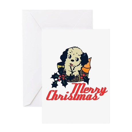 Retro Vintage Christmas Puppy Greeting Card