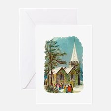 Christmas Church Scene Greeting Card