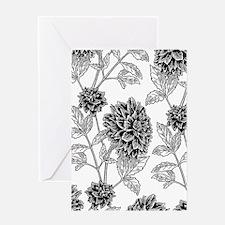 Dahlia Pattern Black/White Greeting Card