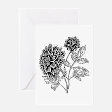 Dahlia Motif Black/White Greeting Cards