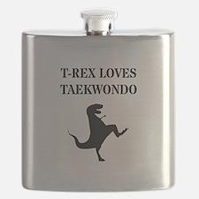 T-Rex Loves Taekwondo  Flask