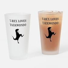 T-Rex Loves Taekwondo  Drinking Glass