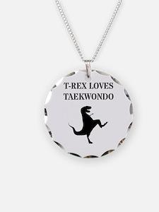 T-Rex Loves Taekwondo Necklace