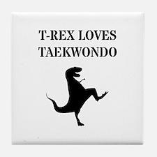 T-Rex Loves Taekwondo Tile Coaster