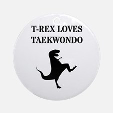 T-Rex Loves Taekwondo Round Ornament