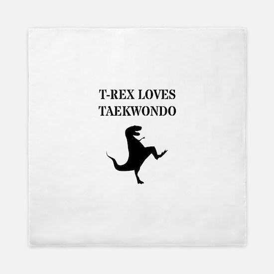 T-Rex Loves Taekwondo Queen Duvet