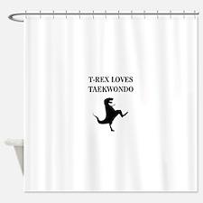 T-Rex Loves Taekwondo Shower Curtain