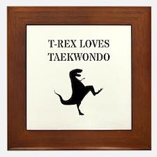 T-Rex Loves Taekwondo Framed Tile