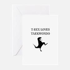T-Rex Loves Taekwondo Greeting Cards