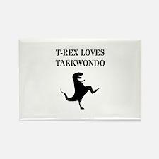 T-Rex Loves Taekwondo Magnets