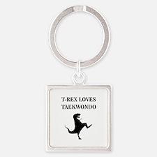 T-Rex Loves Taekwondo Keychains